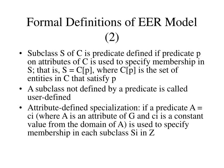 Formal Definitions of EER Model (2)