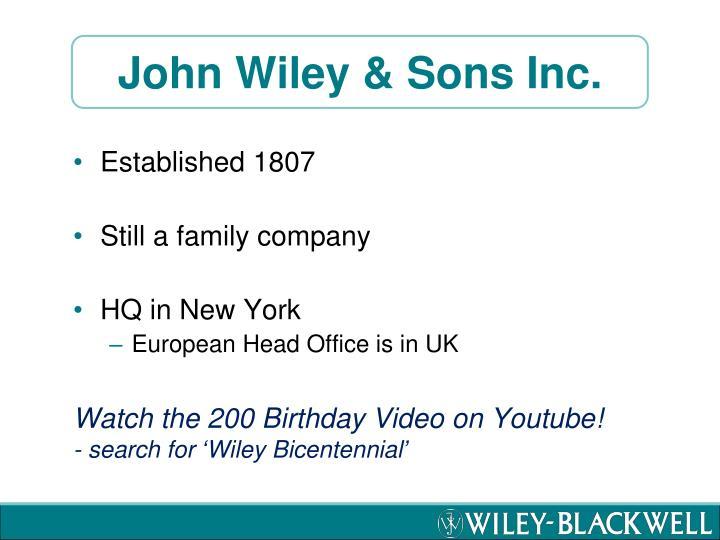 John wiley sons inc