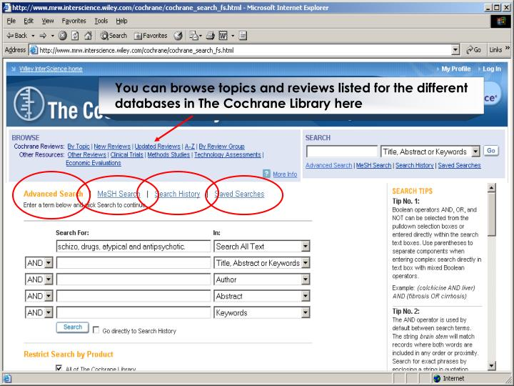 You can browse topics and reviews listed for the different databases in The Cochrane Library here