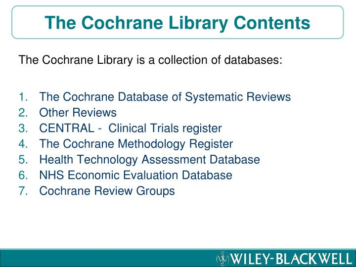 The Cochrane Library Contents