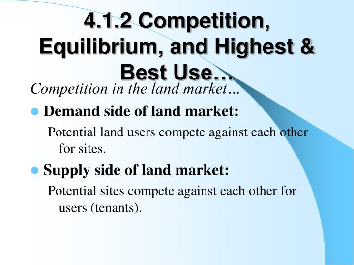 4.1.2 Competition, Equilibrium, and Highest & Best Use…