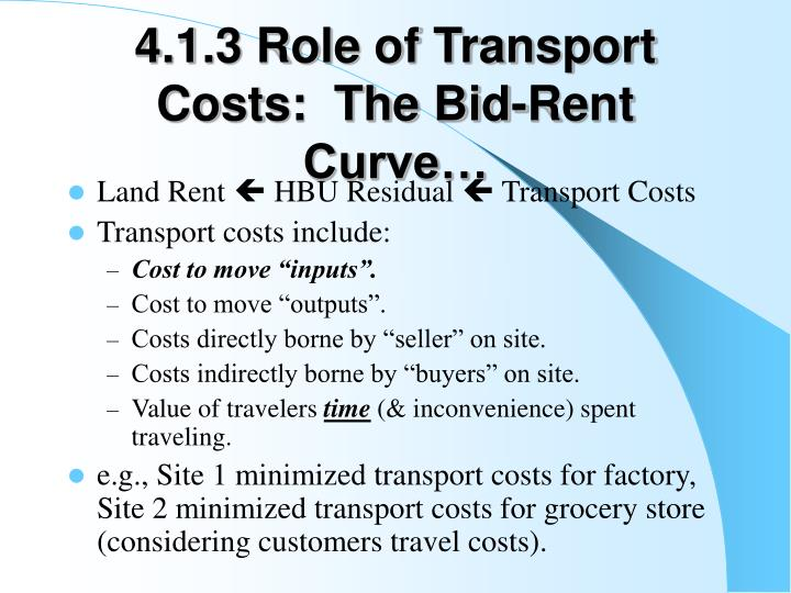 4.1.3 Role of Transport Costs:  The Bid-Rent Curve…