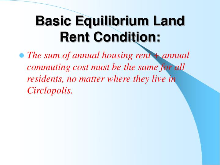 Basic Equilibrium Land Rent Condition: