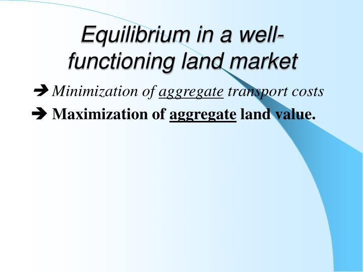 Equilibrium in a well-functioning land market