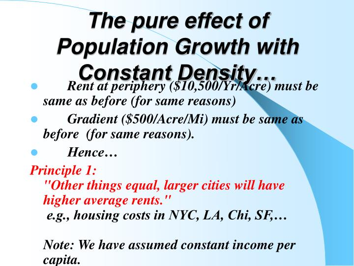 The pure effect of Population Growth with Constant Density…