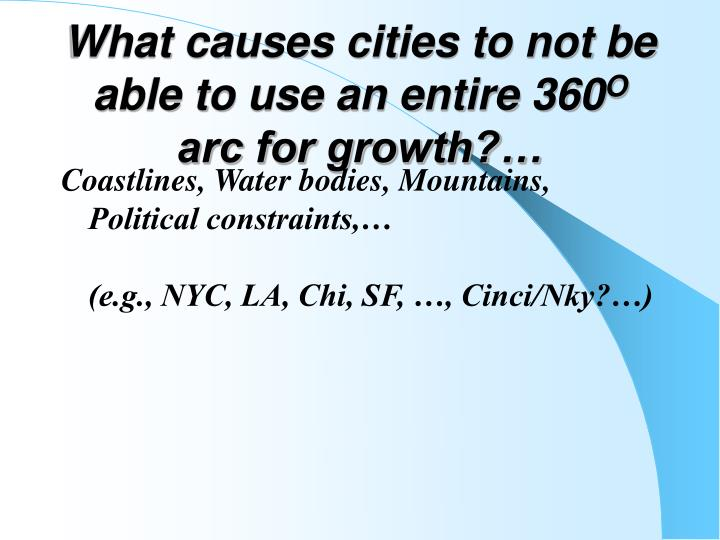 What causes cities to not be able to use an entire 360