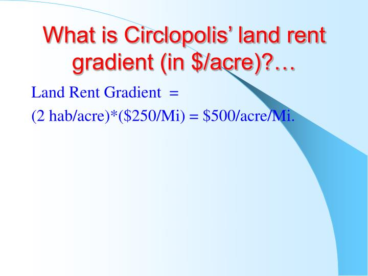 What is Circlopolis' land rent gradient (in $/acre)?…