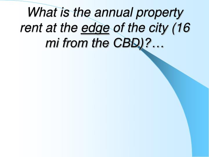 What is the annual property rent at the
