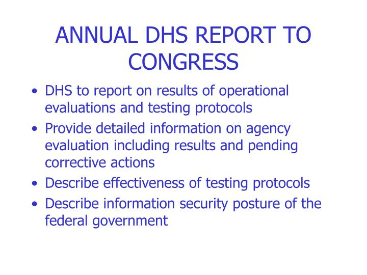 ANNUAL DHS REPORT TO CONGRESS