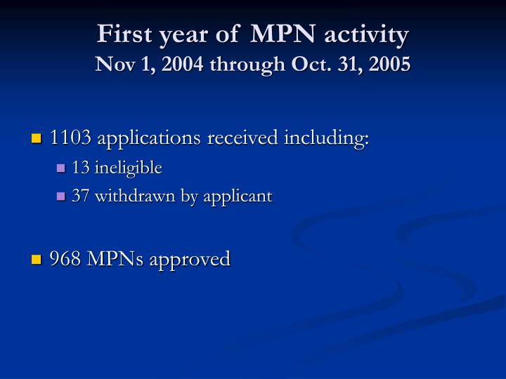 First year of MPN activity