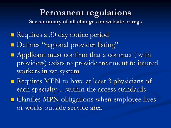Permanent regulations