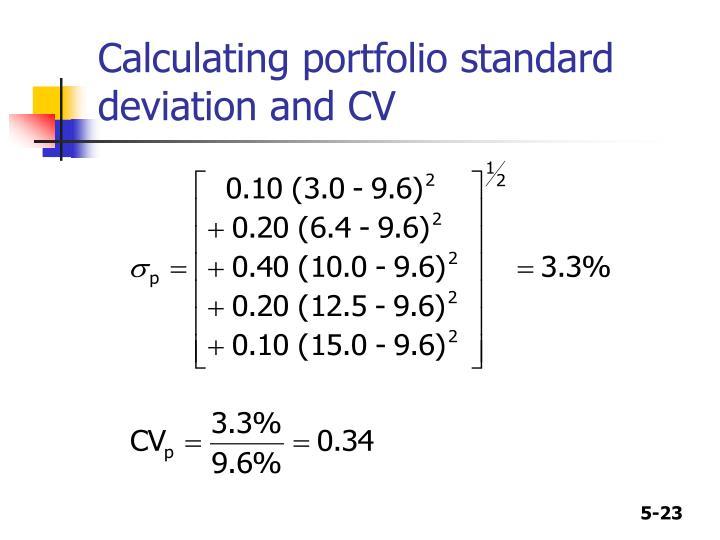 Calculating portfolio standard deviation and CV