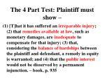 the 4 part test plaintiff must show