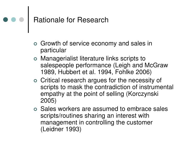 Rationale for research