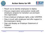 action items for hr