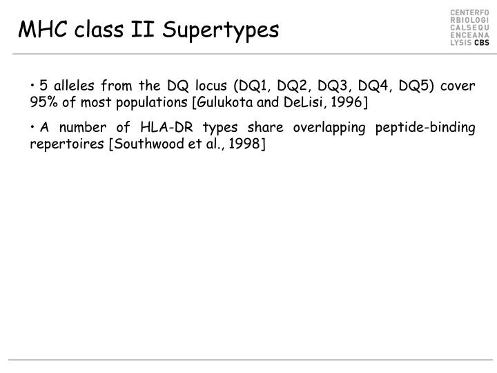MHC class II Supertypes