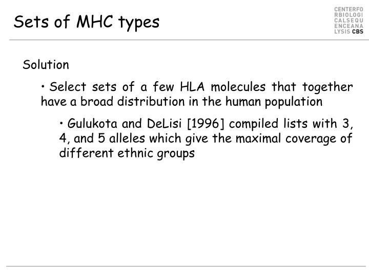 Sets of MHC types