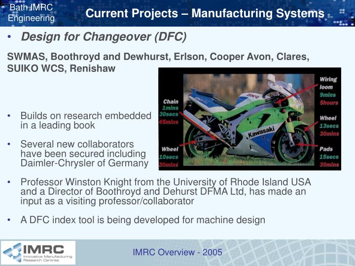 Current Projects – Manufacturing Systems