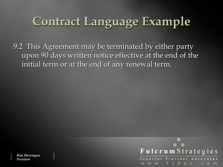 Contract Language Example
