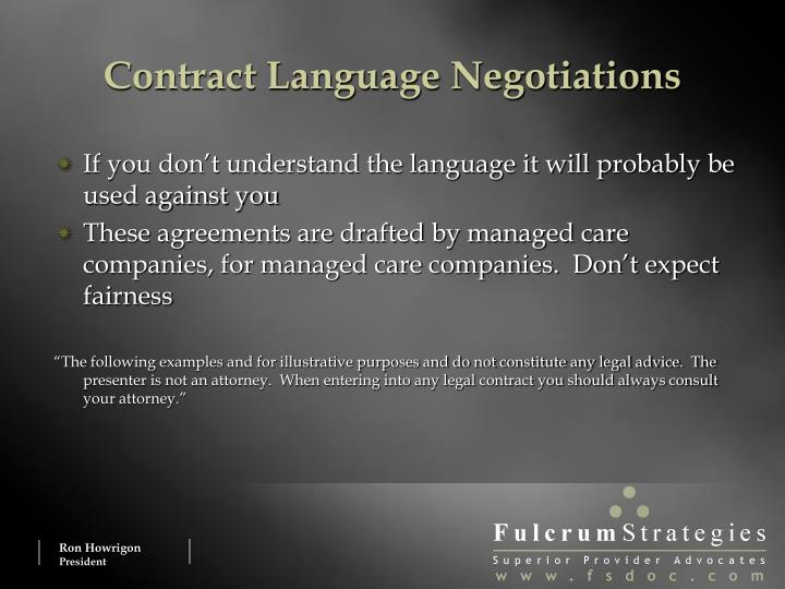 Contract Language Negotiations