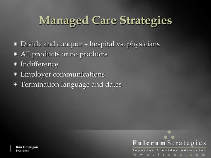 Managed Care Strategies