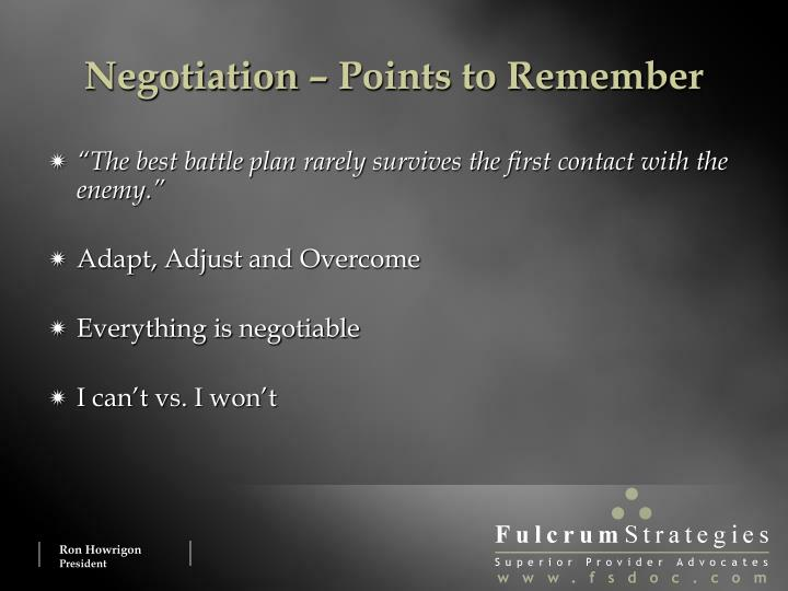 Negotiation – Points to Remember