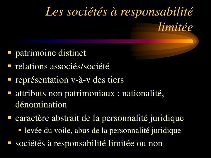 Les sociétés à responsabilité limitée