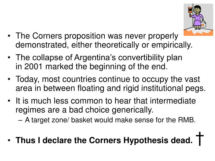 The Corners proposition was never properly demonstrated, either theoretically or empirically.