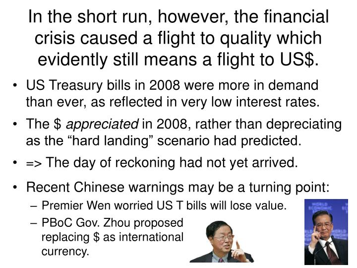 In the short run, however, the financial crisis caused a flight to quality which evidently still means a flight to US$.