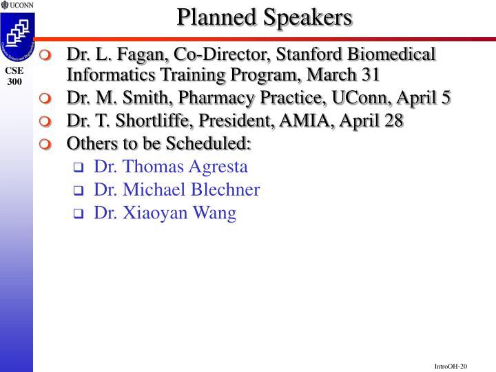 Planned Speakers