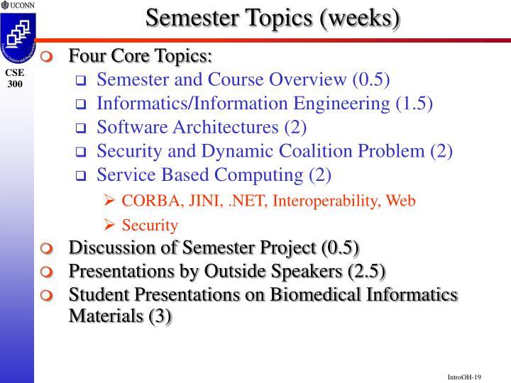 Semester Topics (weeks)
