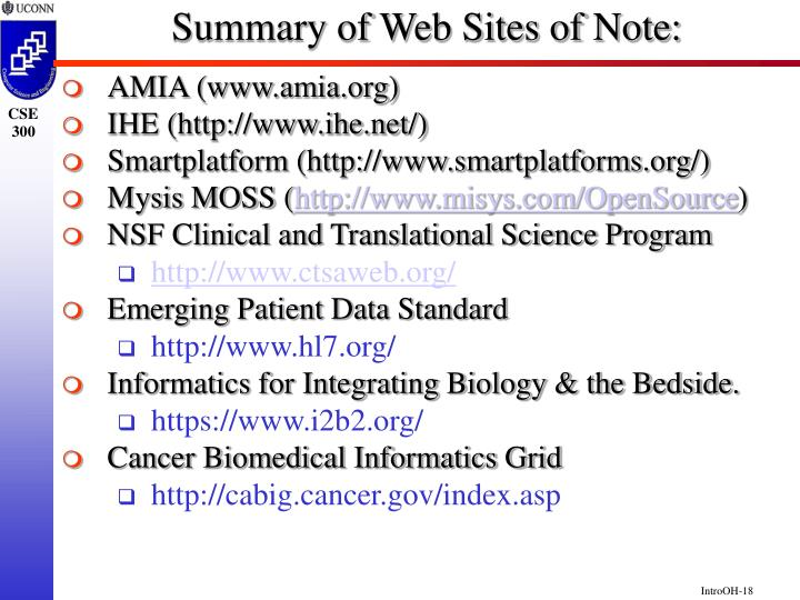 Summary of Web Sites of Note: