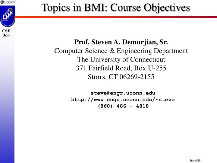 Topics in bmi course objectives