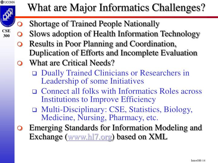 What are Major Informatics Challenges?