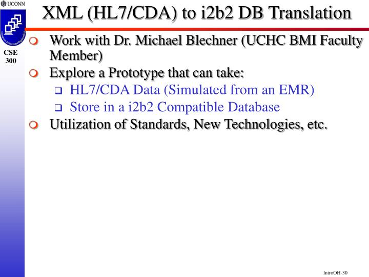 XML (HL7/CDA) to i2b2 DB Translation