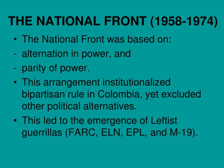 THE NATIONAL FRONT (1958-1974)