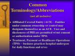 common terminology abbreviations not all inclusive