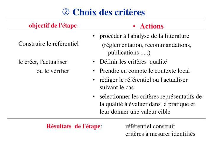 Choix des critères