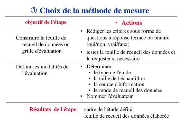 Choix de la méthode de mesure