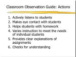 classroom observation guide actions