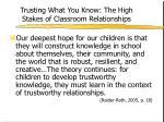 trusting what you know the high stakes of classroom relationships