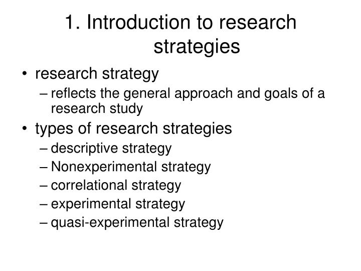 1. Introduction to research strategies