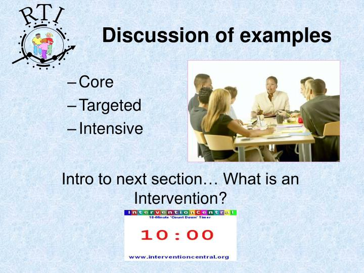 Discussion of examples