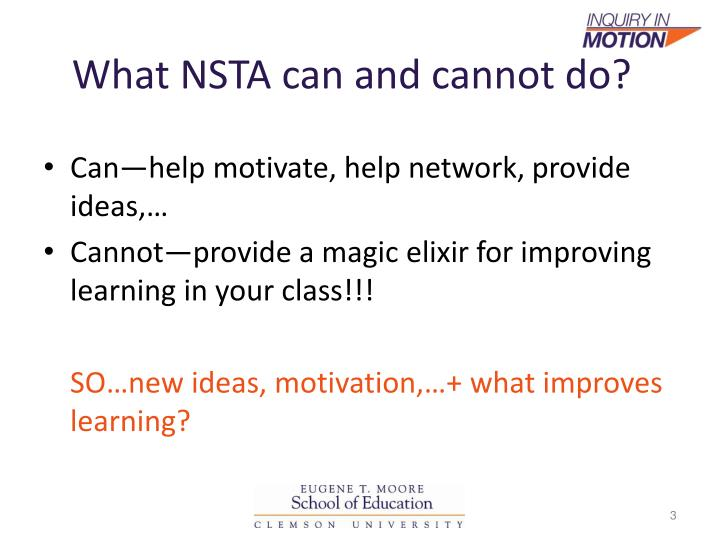 What nsta can and cannot do
