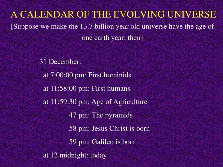 A CALENDAR OF THE EVOLVING UNIVERSE