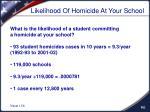 likelihood of homicide at your school