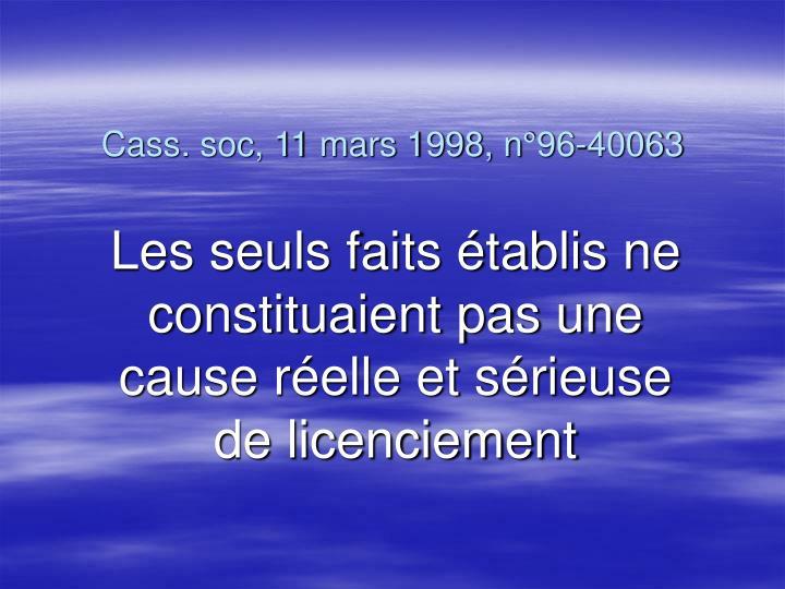 Cass. soc, 11 mars 1998, n°96-40063