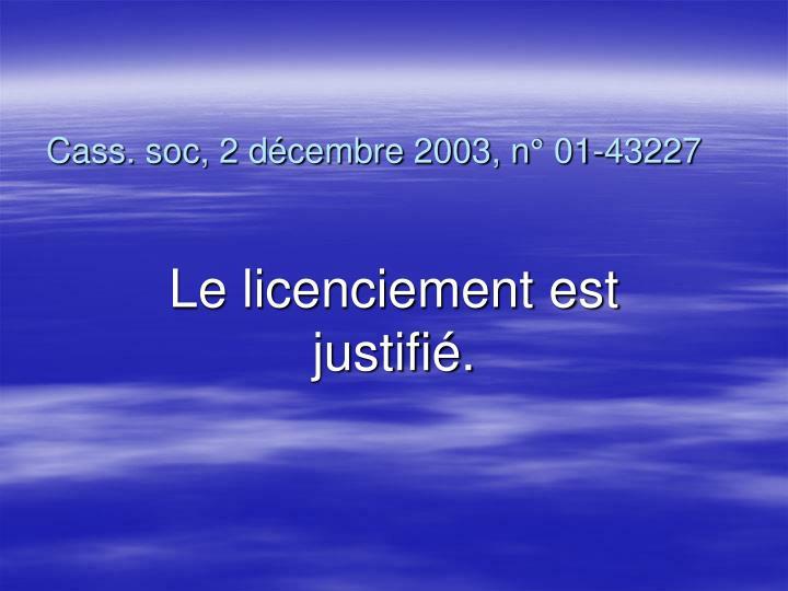 Cass. soc, 2 décembre 2003, n° 01-43227