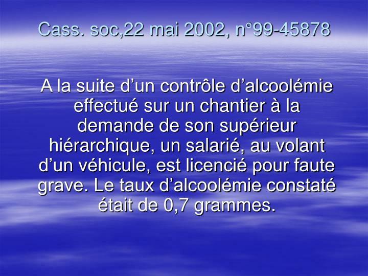 Cass. soc,22 mai 2002, n°99-45878