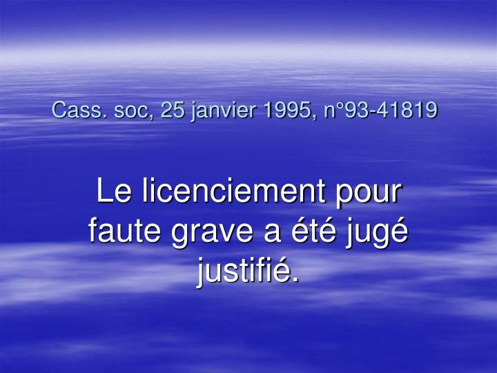 Cass. soc, 25 janvier 1995, n°93-41819